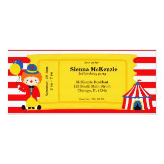 Boleto del cumpleaños del circo invitaciones personales