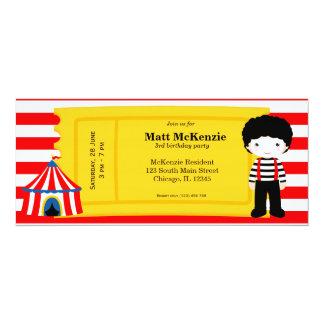 Boleto del cumpleaños del circo invitacion personalizada