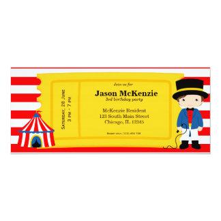 Boleto del cumpleaños del circo invitacion personal