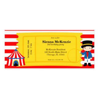 Boleto del cumpleaños del circo invitación