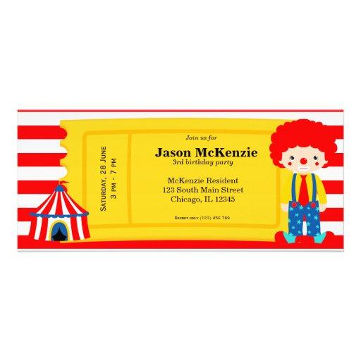 Boleto del cumpleaños del circo comunicado personalizado
