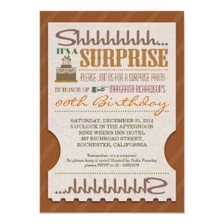 boleto intrépido de la tipografía de la fiesta de invitación 12,7 x 17,8 cm