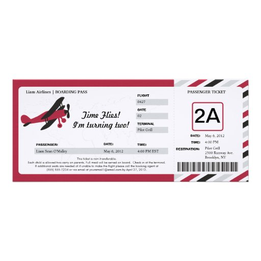 Boleto plano del documento de embarque del cumplea anuncios personalizados
