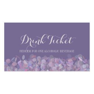 Boleto púrpura de la bebida del confeti tarjetas de visita