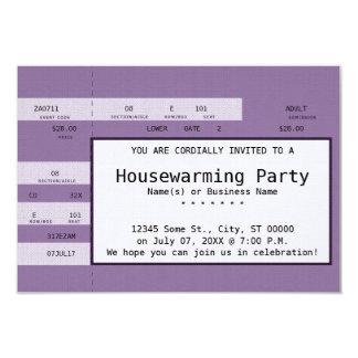 boleto púrpura del concierto del estreno de una invitación 8,9 x 12,7 cm