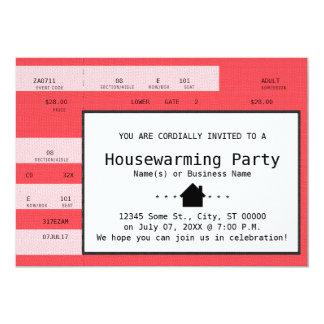 boleto rojo del concierto del estreno de una casa invitación 12,7 x 17,8 cm