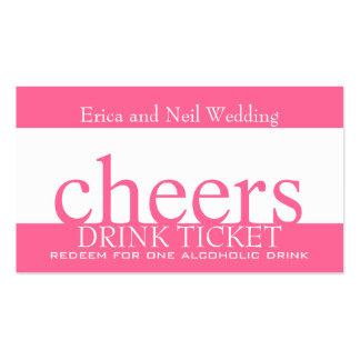 Boleto rosado de la barra de la bebida para las tarjetas de visita