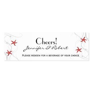 Boletos coralinos de la bebida del boda de la plat tarjetas de visita
