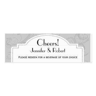 Boletos curvados de la bebida de la bodas de plata tarjeta de visita