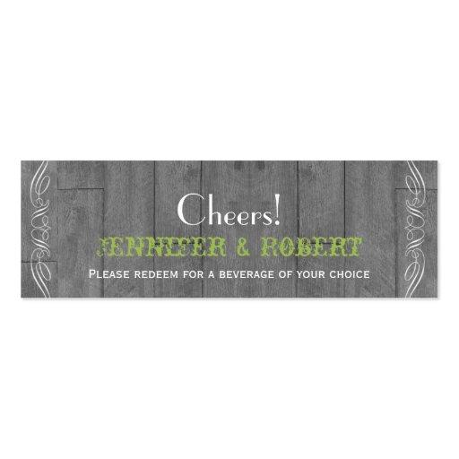 Boletos de madera de la bebida del boda del graner tarjetas de negocios