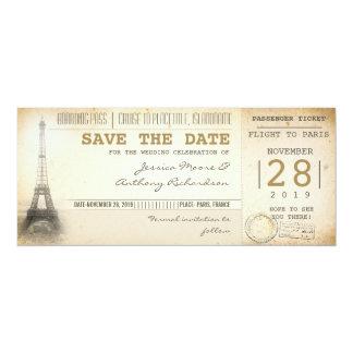 Boletos del documento de embarque de París para la Invitación 10,1 X 23,5 Cm