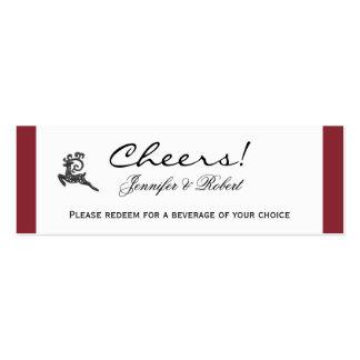 Boletos rojos y blancos de la bebida del boda del  tarjetas de visita