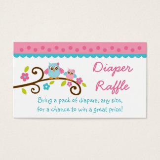 Boletos rosados lindos de la rifa del pañal del tarjeta de visita