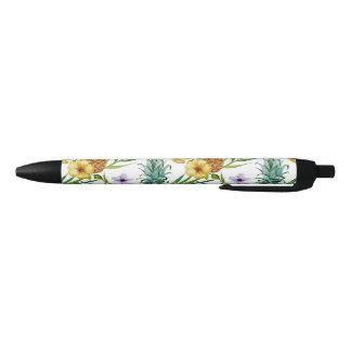Bolígrafo De Tinta Negra Modelo tropical de la piña de la acuarela del tema