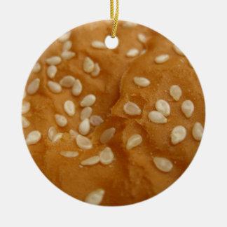bollo de hamburguesa de la semilla de sésamo adorno navideño redondo de cerámica
