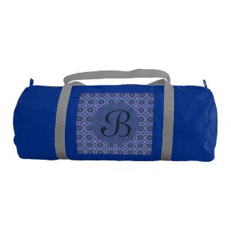 Bolsa De Deporte Monograma azul bonito del estampado de flores