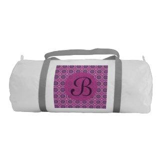 Bolsa De Deporte Monograma rosado bonito del estampado de flores