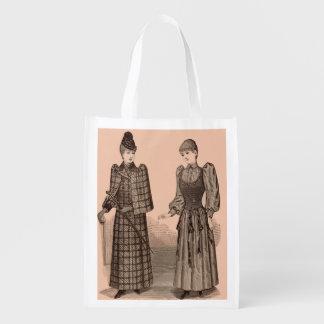 Bolsa De La Compra 1895 señoras capa y vestido de la impresión del