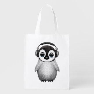 Bolsa De La Compra Auriculares que llevan de DJ del pingüino lindo