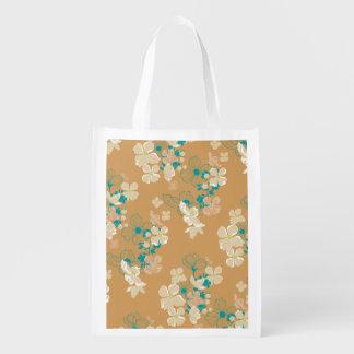 Bolsa De La Compra Beige y verde azulado florales