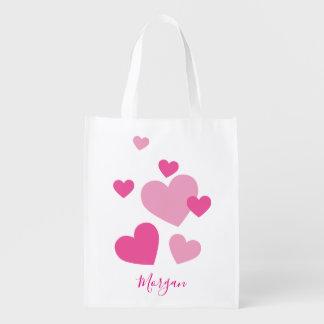 Bolsa De La Compra Corazones rosados bonitos