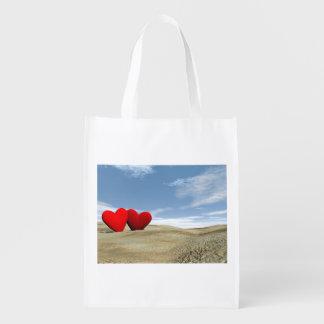 Bolsa De La Compra Dos corazones en la playa - 3D rinden
