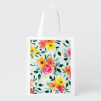 Bolsa De La Compra Estampado de flores colorido de moda de la