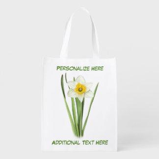 Bolsa De La Compra Flor de la primavera del narciso personalizada