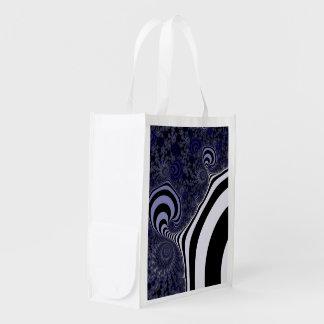 Bolsa De La Compra Fractal rayado azul y negro