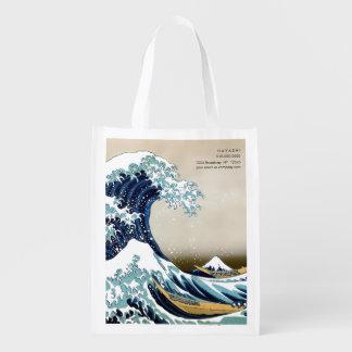 Bolsa De La Compra Gran onda restaurada de Kanagawa por Hokusai