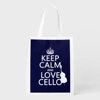 Bolsa De La Compra Guarde la calma y ame el violoncelo (cualquier