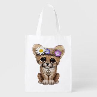 Bolsa De La Compra Hippie lindo de Cub del guepardo