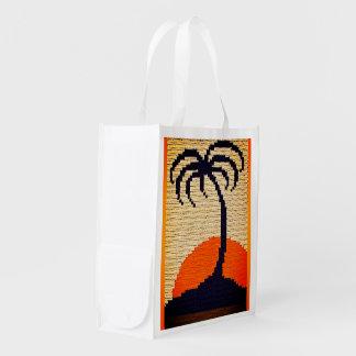 Bolsa De La Compra Impresión tropical del ganchillo de la palmera de