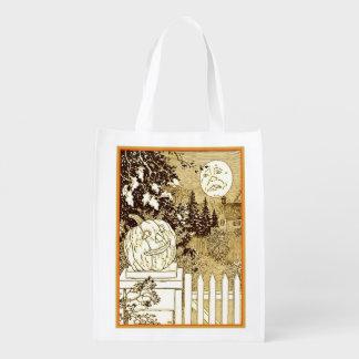 Bolsa De La Compra Linterna y luna reutilizables del o de Halloween