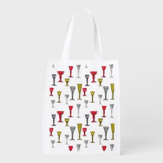 Bolsa De La Compra Modelo colorido de las copas de vino