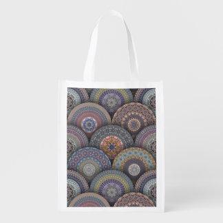 Bolsa De La Compra Modelo floral étnico abstracto colorido de la