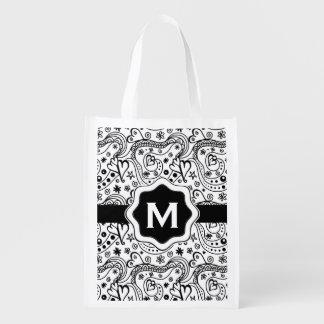 Bolsa De La Compra Modelo personalizado del Doodle del amor de los