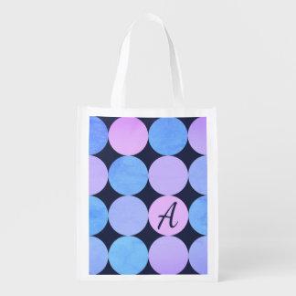 Bolsa De La Compra Monograma púrpura y rosado azul de los círculos