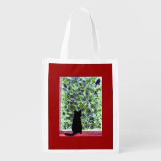 Bolsa De La Compra Observación de pájaros del gato negro del arte del