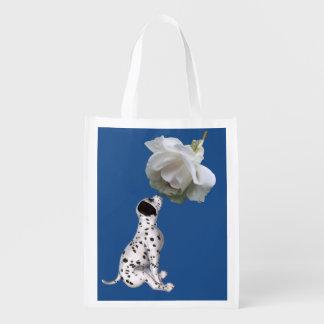 Bolsa De La Compra Perrito dálmata y rosa blanco personalizados