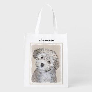 Bolsa De La Compra Pintura del perrito de Havanese - arte original