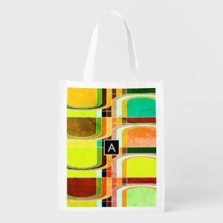 Bolsa De La Compra Retro enrrollado colorido inspirado