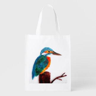 Bolsa De La Compra Reutilizable Arte colorido del pájaro del martín pescador