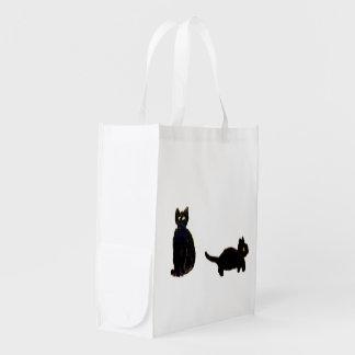 Bolsa De La Compra Reutilizable Arte lindo de los gatos negros