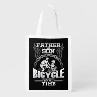 Bolsa De La Compra Reutilizable Bicicleta del hijo del padre