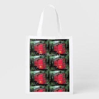 Bolsa De La Compra Reutilizable Caravana minúscula gitana roja modificada para