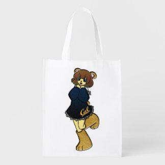 Bolsa De La Compra Reutilizable Chica lindo del oso de la caloría