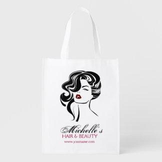 Bolsa De La Compra Reutilizable Chica precioso con el icono del maquillaje del