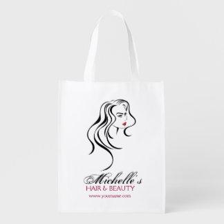 Bolsa De La Compra Reutilizable Chica precioso con el icono del pelo ondulado y