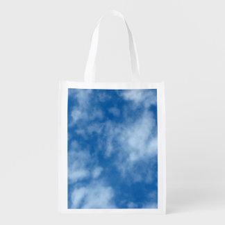Bolsa De La Compra Reutilizable Cielo azul con la foto de las nubes